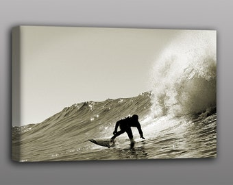 Surf Photography Canvas Backlit Surfer Photo Print Vintage Surfing Art with Free Shipping