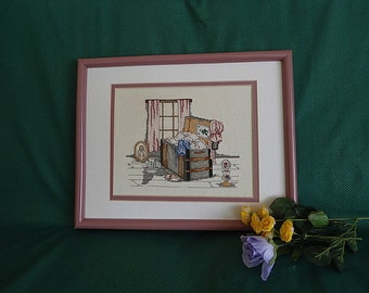 Cross Stitch Picture In The Garret by Paula Vaughn Handcrafted Handmade Framed Victorian Needlework Wall Decor