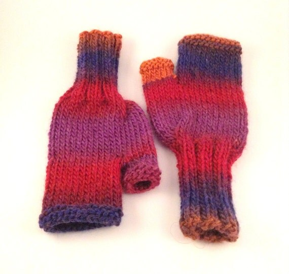 Fingerless Gloves Knitting Pattern Magic Loop : Fingerless Gloves Knitting Pattern, Knit Chunky Mittens ...