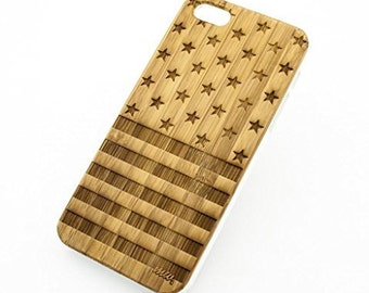 Bamboo Wood Case Cover for Apple iPhone 5/5S Stars and Stripes Flag USA