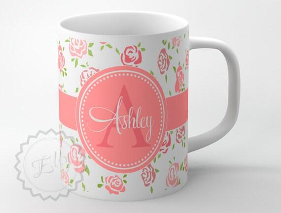 personalized coffee cup cute vintage roses monogrammed mug
