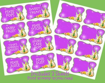 INSTANT DOWNLOAD Tinker Bell Labels Cards Birthday Party Food Labels   Digital