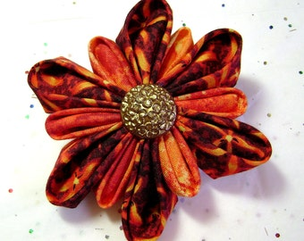 Kanzashi Brooch - Flower Pin - Fabric Pin - Orange And Yellow - Fabric Brooch - Kanzashi Flower - Flowers - K13