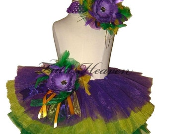 Mardi Gras Tiered Tutu . Little Girls to Adult Plus Sizes . Purple . Yellow . Green . SHORT Length 11in