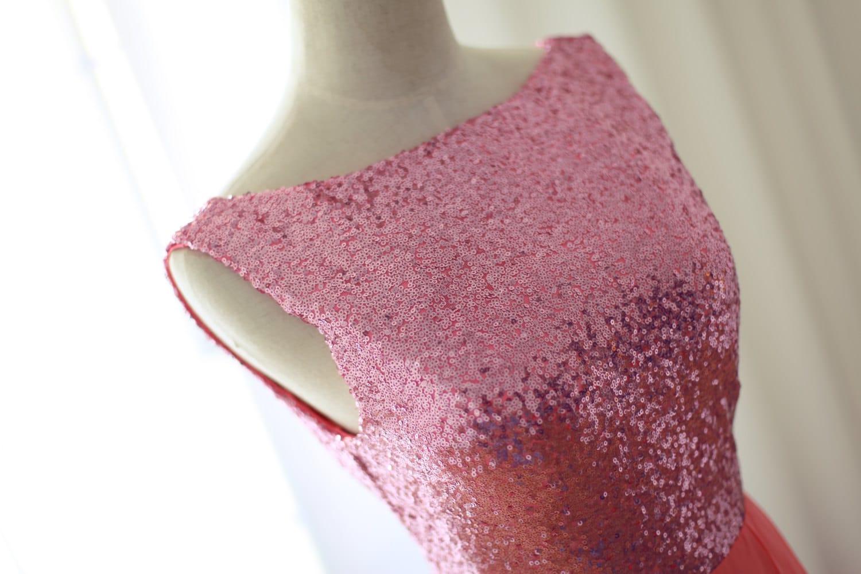 Silver/Gold/Pink Sequin Tulle Chiffon Wedding Dress/Bridesmaid Dress/Reception Dress Strapless Sweetheart Knee Short Dress