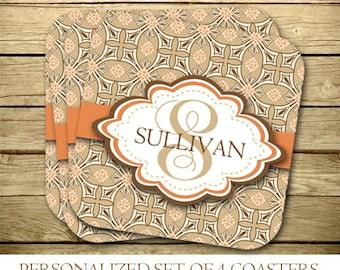 Personalized Coasters - Set of 4 - Monogrammed  - Brown - Orange - 006