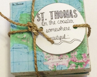 St. Thomas Stone Coaster Set 4 Coasters Handmade on Travertine Stone Virgin Islands