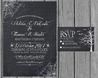 Halloween wedding invitation, chalkboard, engagement party invite, reception only invite, RSVP, Accommodation Card, Information Card