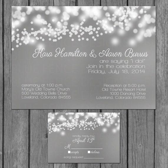 String Lights Wedding Invitation : bubble lights wedding invitation string lights engagement