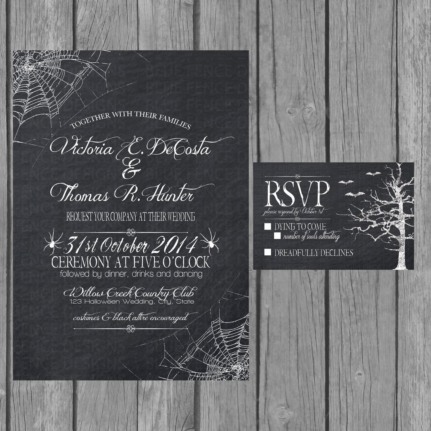 Halloween wedding invitation chalkboard engagement party – Engagement Party Invitations Etsy