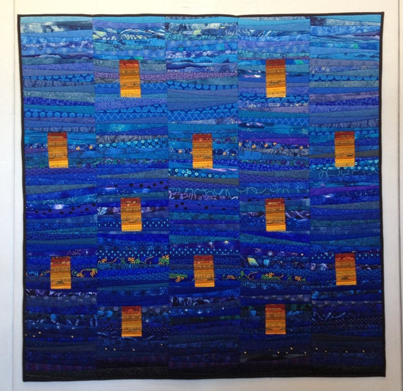 Items Similar To Night Sky Quilted Wall Hanging Abstract