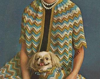 3 Patterns - Ripple Coat, Ladies and Pet Dogs Ensemble, vintage Crochet Pattern, INSTANT DOWNLOAD PDF