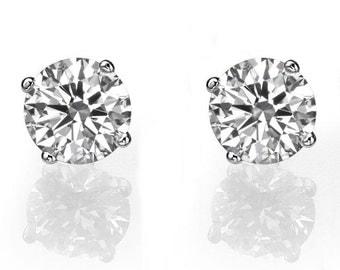 Diamond Earrings, 14K White Gold Stud Earrings, 2 CT Diamond Stud Earrings, Gold Earring Studs, Classic Diamond Studs