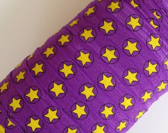 "Yellow Star with Black Outline and Black Circle on Purple 5/8"" Fold Over Elastic 3 or 5 Yards"