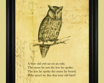 Wise Old Owl Illustration, Perched Owl Drawing, Vintage Hoot Owl, Bird of Prey Art Print with Inspirational Poem - 8 x 10
