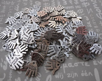 100pcs Antique silver Metal Charms-Hand made pendant--hand charm--12X12.5mm--CP287