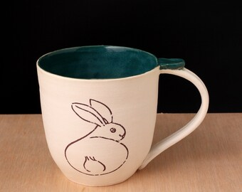 Mug Handmade Ceramic: Bunny Butt,Made to order