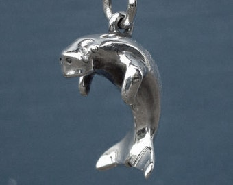 Dugong necklace , solid silver pendant or charm