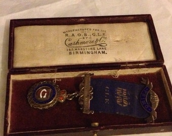 The Big Sale - Vintage Solid Silver R.A.O.B G.L.E Cased Masonic Medal Birmingham Hallmarks 1928
