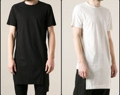 Extended Viscose Cotton Long Length -ont flap panel to the hem- T-shirt