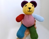 Rainbow Knit Teddy Bear, hand-made stuffed animal in bright colors, colorful baby gift