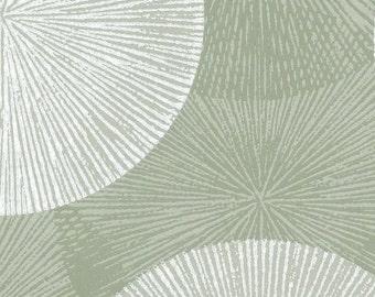 Retro Stamped Starburst Circles - Transitional, Mod, Metro, Burst, Geometric, Metallic - Wallpaper By The Yard - FP2717 *