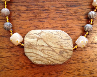 Tigerskin Jasper Focal on Beaded Necklace