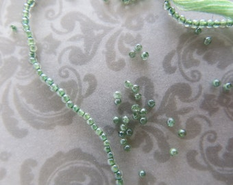 "Green Amethyst Seed Beads, Our Tiniest Beads, Rare 1mm, Perfect for Tassels and Petite Designs, Full 15"", February Birthstone"