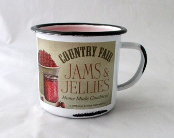 Enamel mug candle, rustic candle, cranberry candle, drink candle, candle mug, soy candle, soy wax candle, decorative candle, scented candle