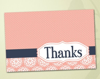 Floral and Polka Dot Printable Baby Shower Thank You Card in Coral and Navy Blue