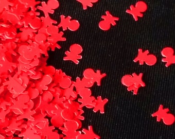 solvent-resistant glitter shapes-neon red skulls and crossbones