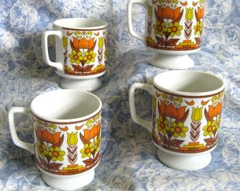 1970s Vintage Cups 4 Orange Yellow Floral Stacking Mugs Japan