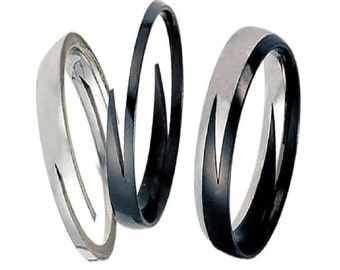 Two Piece Tone Stainless Steel Lightning Band