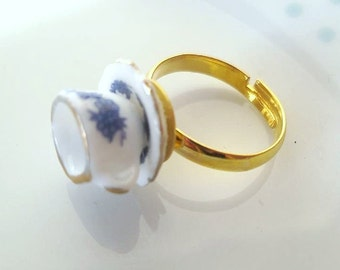 Alice in Wonderland Blue Floral Teacup Ring, Tea cup, Retro,Flower, Gold, Adjustable, Miniature