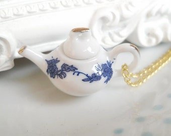 Blue Floral Teapot Tea 3D Charm Necklace Alice in Wonderland, Tea Party, Flower, Tea Pot