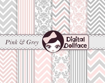 Pink and Grey Digital Paper, Chevron & Damask, Baby Girl Scrapbook Paper