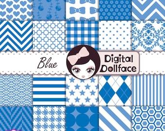 Royal Blue Digital Paper, Blue Scrapbook Paper Pack, Pattern Background Images