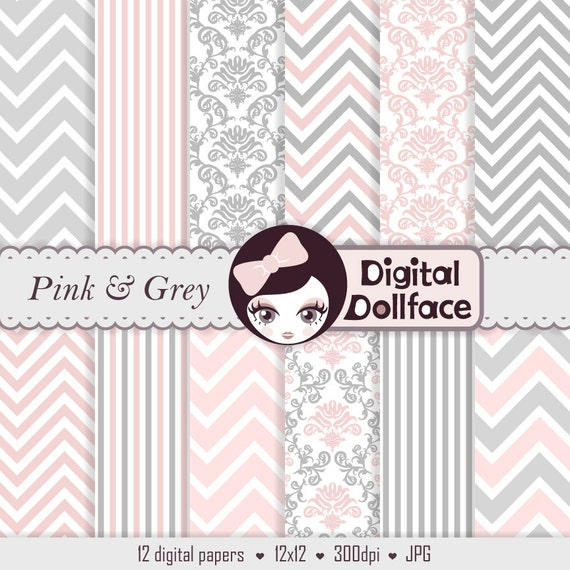 Pink And Grey Digital Paper Chevron Damask Baby Girl Scrapbook