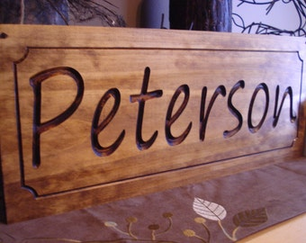Custom Wood Sign, Personalized Gift, Carved Wood Sign, Family Name Sign, Outdoor Wood Sign, New Home Gift, Thank you Host Gift, Rustic