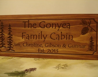 Lodge Ranch Cabin Cottage Camp Signs Wooden Carved Welcome Signs Family Last Name Trees Pinecone Address Plaque gift ideas Benchmark Signs