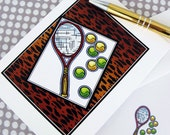 "Tennis Cards, Tennis Note Cards ""Wild Tennis"""