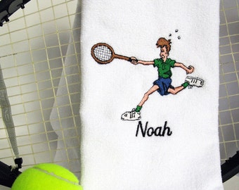 "Mens Tennis Gift - Personalized Tennis Towel - Tennis Towel ""Go For It!"" #119"