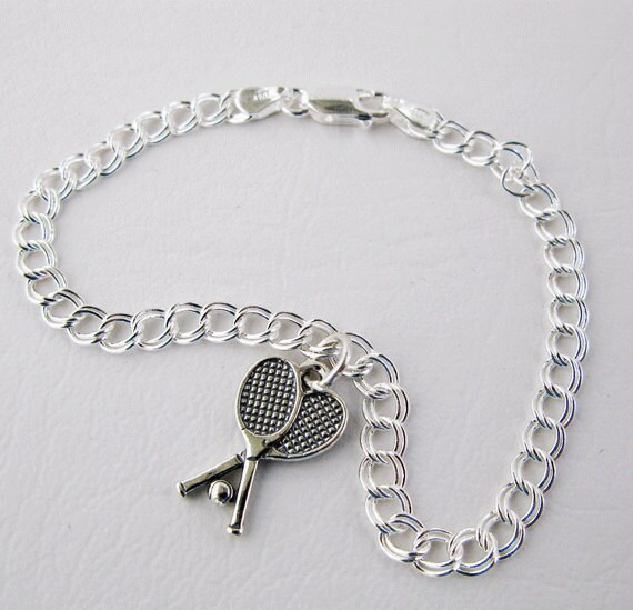 Tennis Jewelry Sterling Silver Tennis Charm Bacelet With