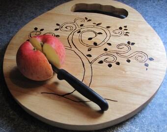 Cutting board,with woodburned tree/ Beechwood.