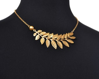 Gold Statement Necklace, Gold Choker Necklace, Leaf Choker, 14kt Gold Filled, Bold, Trendy, Vogue, Pearl Necklace