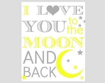 nursery art- playroom art, children wall decor, moon stars, love you to moon and back, 8x10,gray yellow, moon stars nursery