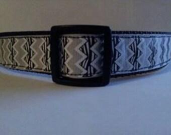 Dog Collar * Black  Grey Chevron Zebra * Adjustable Buckle OR Martingale