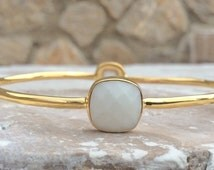 Gemstone Bangle, White Agate Gold Cushion Stone Bangle, Gold Vermeil White Agate Four Stone Bangle, Stacking Bangles, Gemstone Bangle