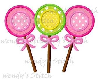 Lollipop applique machine embroidery design digital pattern