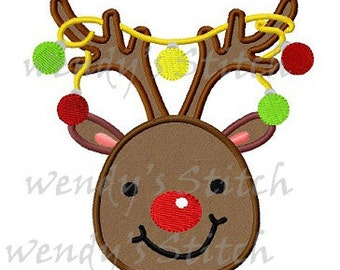 Christmas reindeer with ornament lights machine embroidery design